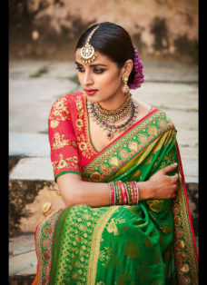 IMPERIAL GREEN N ORANGE EMBROIDERED WEDDING SAREE