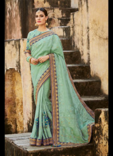 IMPERIAL SEA GREEN EMBROIDERED WEDDING SAREE