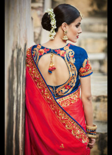 IMPERIAL RED N BLUE EMBROIDERED WEDDING SAREE
