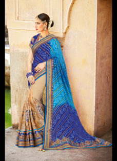 IMPERIAL BLUE N BEIGE BANDHEJ WEDDING SAREE