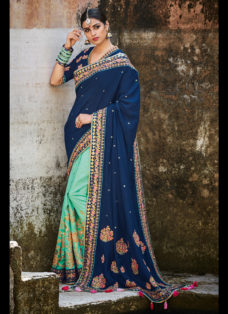 IMPERIAL BLUE N GREEN EMBROIDERED WEDDING SAREE