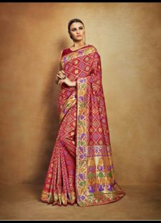 VINTAGE LOOK MAROON TUSSAR SILK WEDDING SAREE