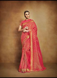VINTAGE LOOK REDDISH PINK TUSSAR SILK WEDDING SAREE