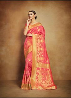 VINTAGE LOOK PEACH TUSSAR SILK WEDDING SAREE