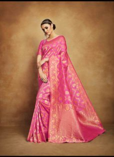 VINTAGE LOOK PINK TUSSAR SILK WEDDING SAREE