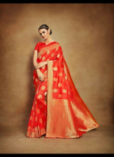 VINTAGE LOOK ORANGE TUSSAR SILK WEDDING SAREE