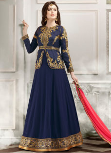 RESPLENDENT BLUE N PINK EMBROIDERED JACKET STYLE SUIT