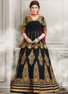 RESPLENDENT BLACK N PINK PARTY WEAR ANARKALI SUIT