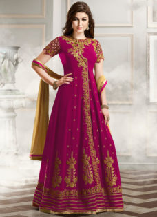 RESPLENDENT MAGENTA EMBROIDERED ANARKALI SUIT