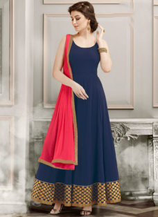 RESPLENDENT NAVY BLUE PARTY WEAR ANARKALI SUIT