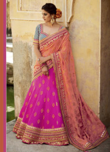 PINK N ORANGE SILK JACQUARD EMBROIDERED LEHENGA SET
