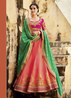 ORANGE N GREEN TUSSAR SILK WEDDING LEHENGA SET