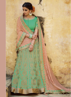GREEN N PEACH EMBROIDERED WEDDING LEHENGA SET