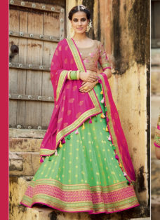 GREEN N MAGENTA EMBROIDERED WEDDING LEHENGA SET