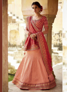 PEACH N RED EMBROIDERED WEDDING LEHENGA SET