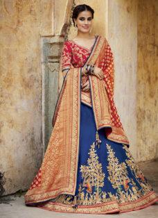 BLUE N RED EMBROIDERED WEDDING LEHENGA SET