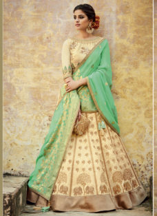 CREAM N GREEN SILK JACQUARD WEDDING LEHENGA SET