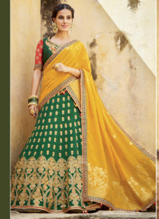 GREEN N MUSTARD SILK JACQUARD WEDDING LEHENGA SET