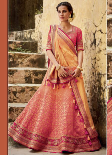 PINK N ORANGE SILK JACQUARD WEDDING LEHENGA SET