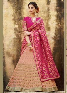 PEACH N MAGENTA EMBROIDERED WEDDING LEHENGA SET
