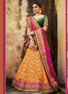 ORANGE N GREEN EMBROIDERED WEDDING LEHENGA SET