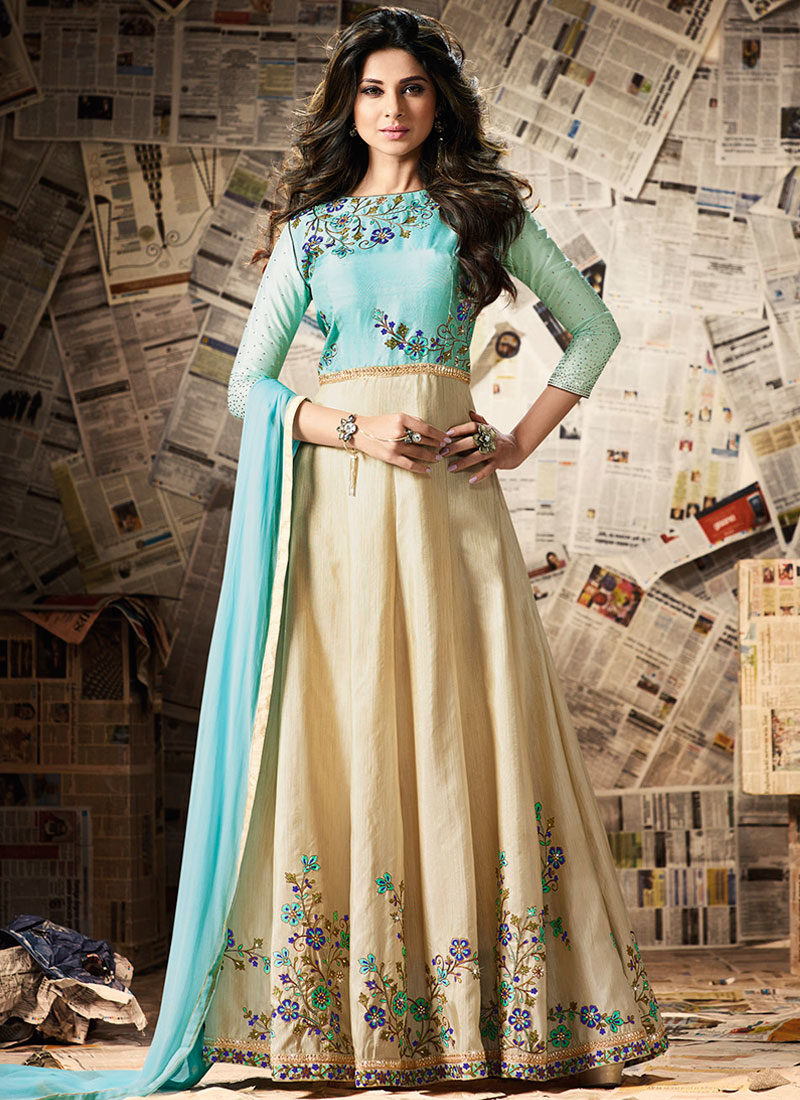 JENNIFER WINGET AQUA N CREAM ANARKALI SUIT