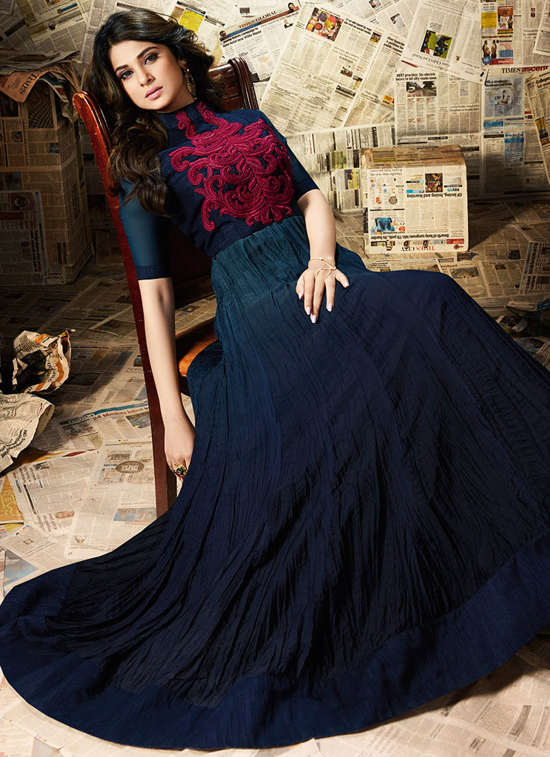JENNIFER WINGET NAVY BLUE EMBROIDERED ANARKALI SUIT