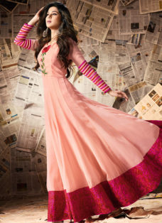 JENNIFER WINGET PEACH EMBROIDERED ANARKALI SUIT