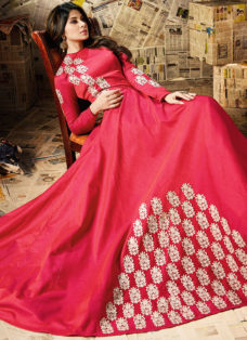 JENNIFER WINGET RED EMBROIDERED ANARKALI SUIT