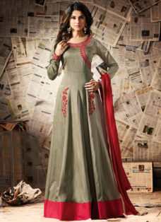JENNIFER WINGET SLATE GREEN DESIGNER ANARKALI SUIT
