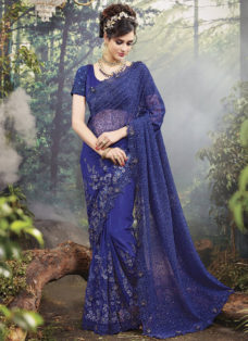 EXCLUSIVE NAVY BLUE NET BRIDAL WEAR DESIGNER SAREE