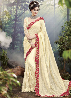 EXCLUSIVE CREAM NET BRIDAL WEAR DESIGNER SAREE
