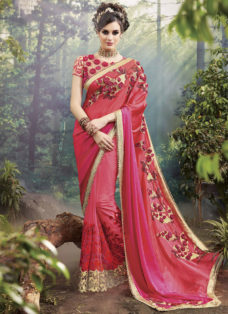 EXCLUSIVE PINK OMBRE BRIDAL WEAR DESIGNER SAREE