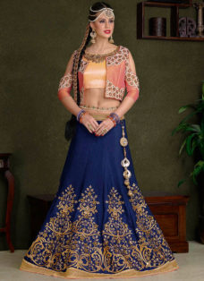 NAVY BLUE N LIGHT PINK EMBROIDERED LEHENGA CHOLI