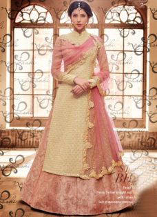 PASTEL YELLOW AND PEACH BROCADE WEDDING SUIT