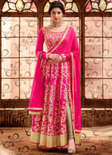 BRIGHT PINK AND BEIGE DESIGNER PARTY WEAR SUIT