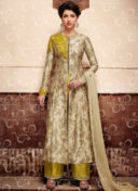 BEIGE N OLIVE GREEN EMBROIDERED WEDDING SUIT