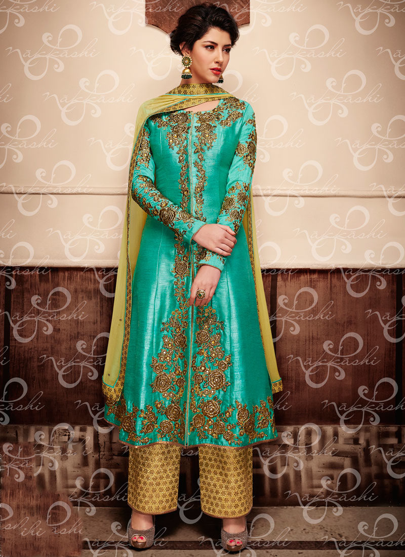 TURQUOISE N LIGHT YELLOW EMBROIDERED WEDDING SUIT