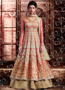 PEACH N BEIGE BANARASI SILK DESIGNER WEDDING SUIT