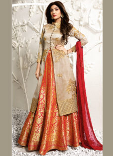 SHILPA SHETTY BEIGE N ORANGE EMBROIDERED LEHENGA SET