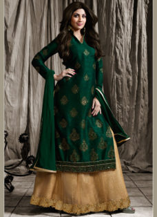 SHILPA SHETTY DEEP GREEN N BEIGE EMBROIDERED LEHENGA
