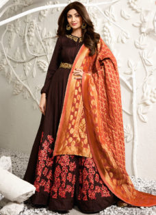 SHILPA SHETTY BROWN ABAYA STYLE EMBROIDERED ANARKALI SUIT
