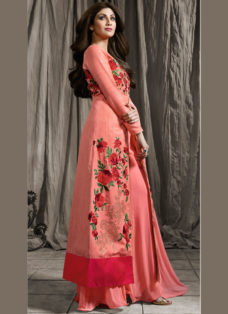 SHILPA SHETTY PEACH SILK EMBROIDERED PALAZZO SUIT