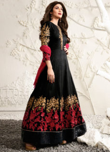 SHILPA SHETTY BLACK N RED EMBROIDERED ANARKALI SUIT