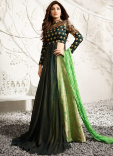 SHILPA SHETTY GREEN INDO WESTERN EMBROIDERED LEHENGA