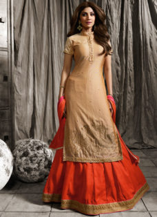 SHILPA SHETTY BEIGE N ORANGE EMBROIDERED LEHENGA
