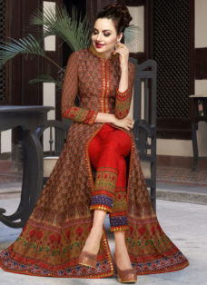 BROWN N RED EMBROIDERED INDO WESTERN PANT SUIT