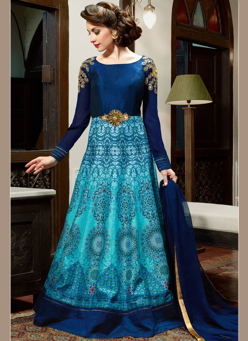 BLUE EMBELLISHED INDO WESTERN SILK GOWN STYLE SUIT