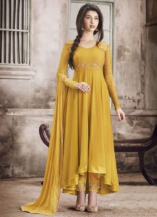 MUSTARD YELLOW GEORGETTE ASYMMETRICAL PARTY WEAR SUIT