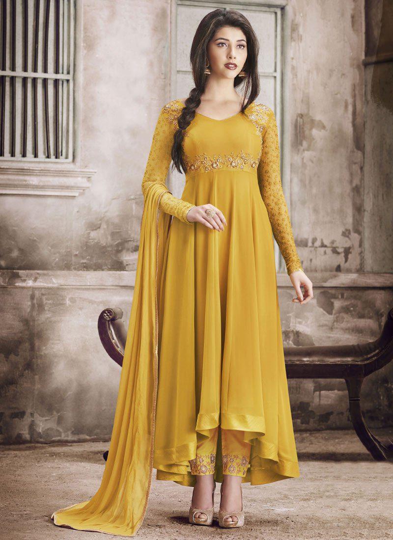 Mustard Yellow Georgette Asymmetrical Party Wear Suit